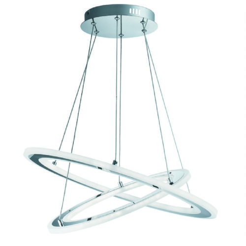 Solexa - Led 2 Hoops Ceiling, Chrome, Frosted Acrylic 5882-2Cc